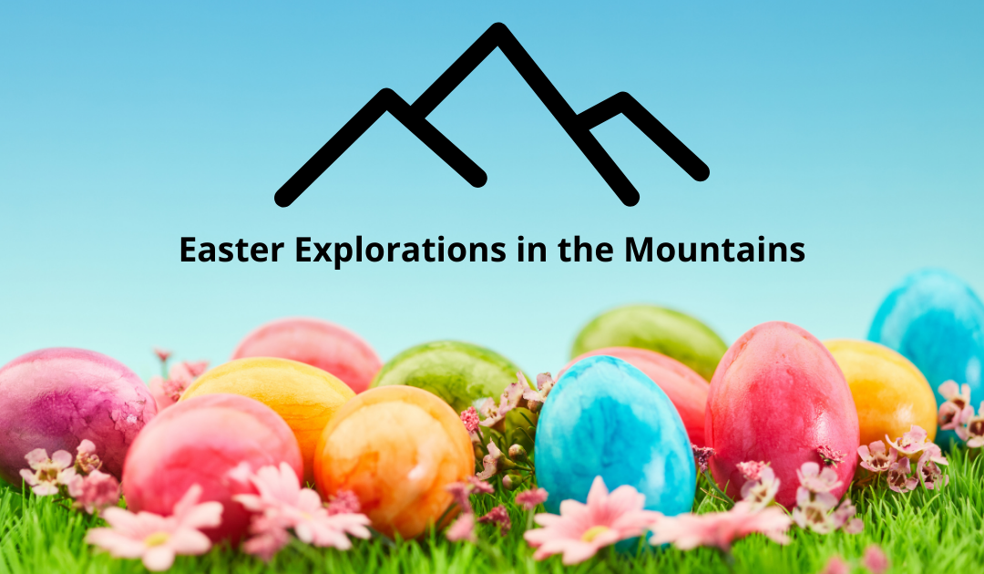 Easter Eggs in grass with mountain outline